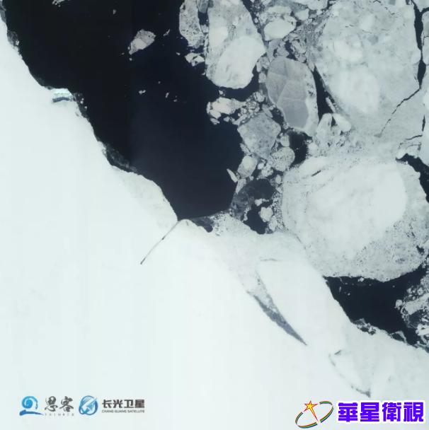 """▲图为11月21日""""吉林一号""""卫星拍摄的""""雪龙""""号和""""雪龙2""""号"""